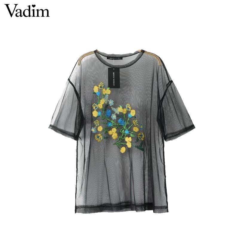 Sexy see through flower embroidery mesh shirts-SHIRTS-SheSimplyShops