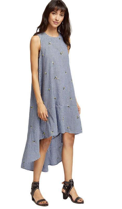 Plaid Swing Dress Women Blue Embroidered Dip Hem Cute Casual Summer Dresses Fashion High Low Midi Beach Dress-Dress-SheSimplyShops