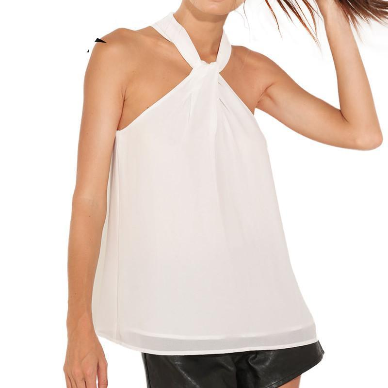 Elegant Halter Chiffon Plus Size Casual Tops-Tops-SheSimplyShops