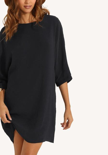 Autumn Women Brief Solid Dress O-Neck Batwing Sleeve plus size clothing elegant Street-style dresses-Dress-SheSimplyShops
