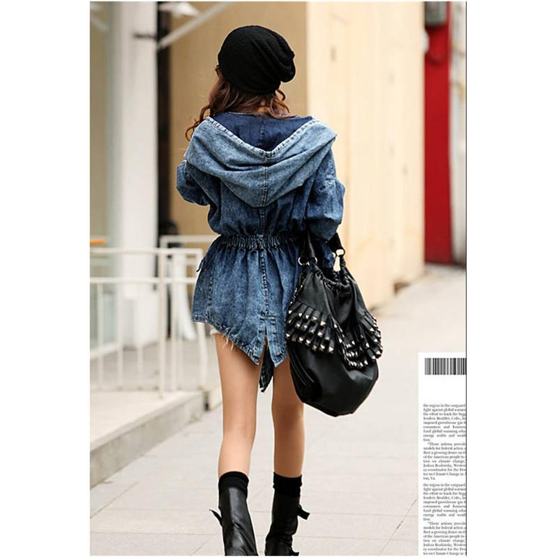 Women Denim Jeans Coat Jacket New Women Jeans Coats Vintage Long Sleeve Slim Hoody Hooded Coat-JEANS-SheSimplyShops