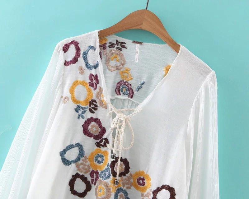 New spring summer women's embroidery lace up lantern sleeve V-neck T-shirt white-SHIRTS-SheSimplyShops
