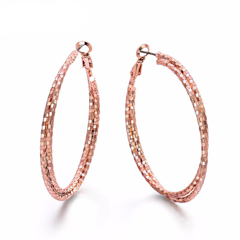 Double Circles Round Hoop Earrings Rose Gold & Silver Color-EARRINGS-SheSimplyShops