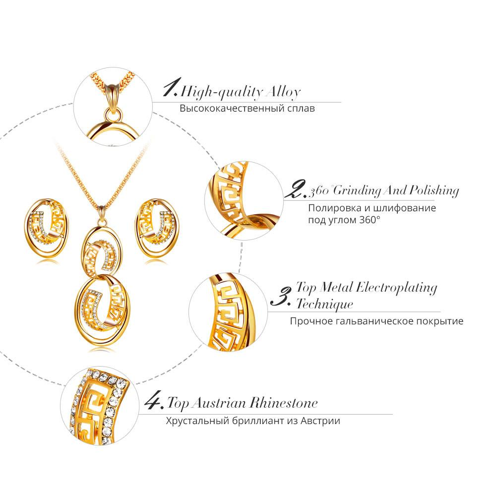 Gold Color Rhinestone Round Twisted Pendant Necklace Stud Earrings Set-EARRINGS-SheSimplyShops