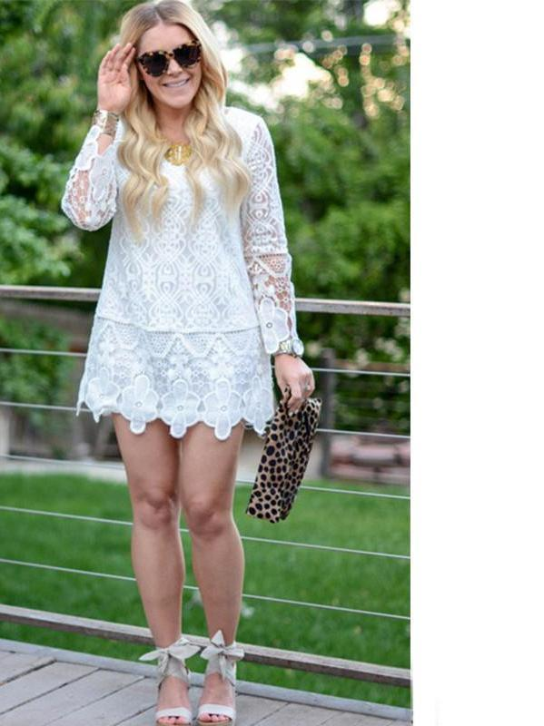 Women's Sexy New Arrivals Cute Brand Fashionable White Round Neck Long Sleeve Crochet Lace Mini Dress-Dress-SheSimplyShops