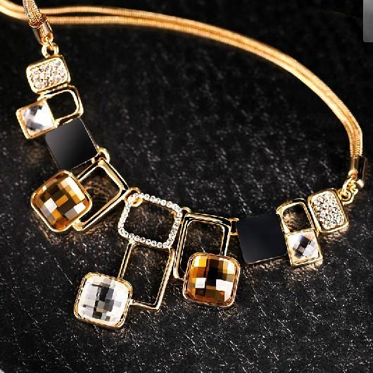 European and American fashion Golden Hollow Geometric Big Stone Jewelry Sets Crystal Fine jewellery Set for women personality-EARRINGS-SheSimplyShops