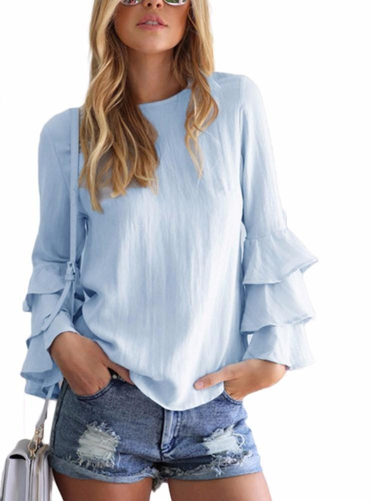 Summer Ruffle Women Blouses Shirt Elegant Ladies O-Neck Long Sleeve Solid Shirt Women Casual Loose Tops-Blouse-SheSimplyShops