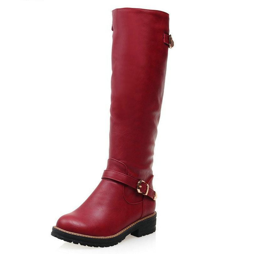 VALLKIN Fashion Women Boot Med Calf New Fashion Round Toe Woman Winter Shoes size 34-43-BOOTS-SheSimplyShops