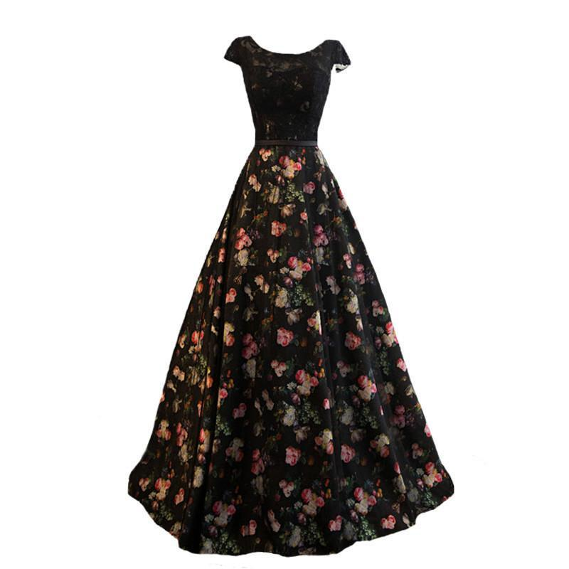 New Evening Dress,the Bride Elegant Banquet black Lace Flower Printing Floor-length Long Prom Party Gowns Custom-Dress-SheSimplyShops