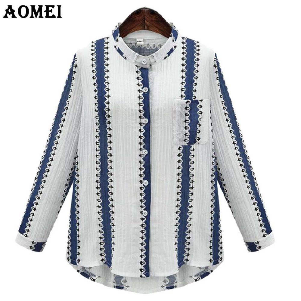 Ladies Casual Shirts Blue Color with Geometric Print Cotton Fashion Long Sleeve Women's Spring Summer Blouses and Tops-Blouse-SheSimplyShops