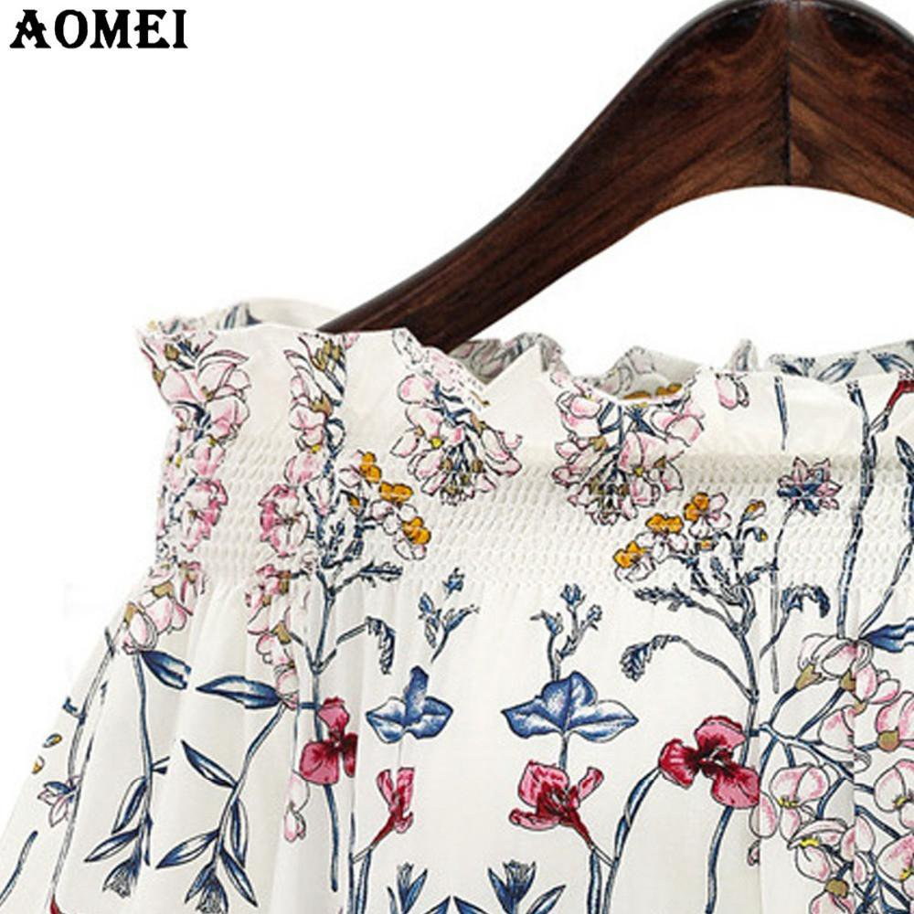 Navy Blue White with Print Floral Blouse Shirts Fashion Slash Neck Summer Spring Lolita Cute Girls Tops Shirts-Blouse-SheSimplyShops