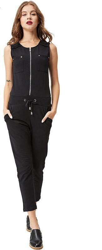 Women jumpsuit Fashion pocket zipper Summer Women Rompers black casual Sleeveless Knitted Jumpsuits-ROMPERS & JUMPSUITS-SheSimplyShops