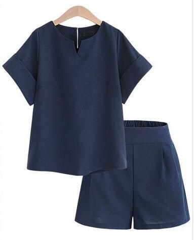 New Loose Summer Women Sets Solid Color Short-Sleeved Tops 2 Pieces Sets Women Tracksuit Linen t shirts shorts-Dress-SheSimplyShops