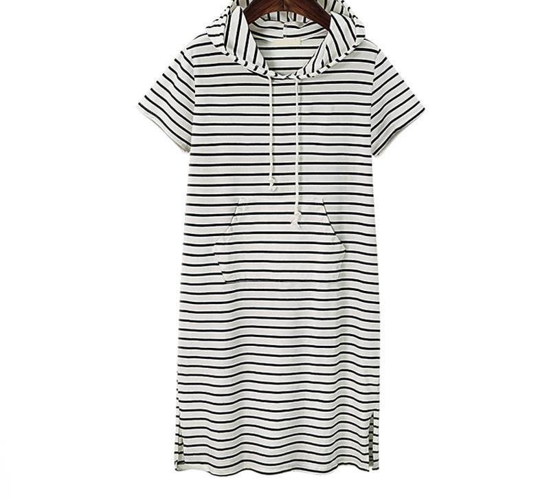 New Summer Dress Women Striped Short-Sleeve Hoodies Slim Sweatshirt Long Hoodie Dress-Dress-SheSimplyShops
