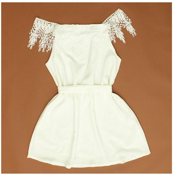 NEW Fashion Summer Womens Ladies Off the Shoulder Strapless Lace Chiffon Evening Short Mini Dress White-Dress-SheSimplyShops