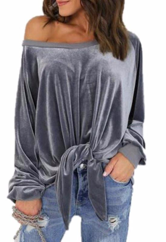 Women velvet Long Sleeve T-shirts sexy Loose bow Shirts Tops O-neck Solid Color Female T-shirts-SHIRTS-SheSimplyShops