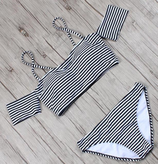 Bandeau Bikini Women Swimsuit Push Up Swimwear Bottom Striped Top Off The Shoulder Ruffle Bathing Suits Swim Wear-Bottoms-SheSimplyShops