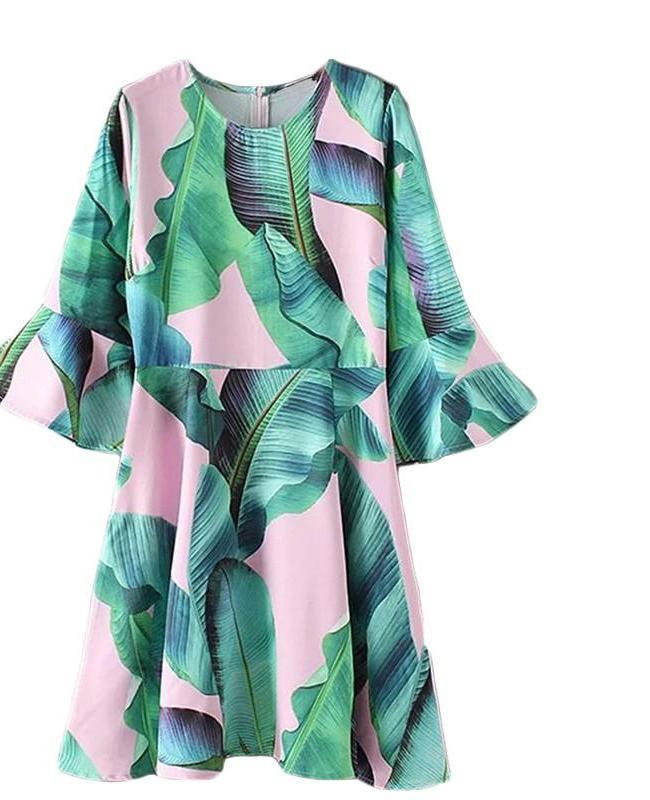 Palm Leaf Summer Dress Women Green Flare Sleeve Elegant Zip Back A Line Dresses Fashion Casual Draped Midi Dress-Dress-SheSimplyShops