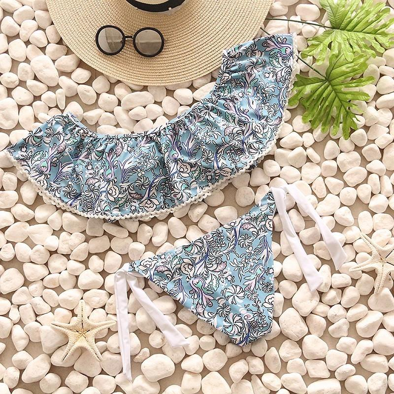 Ruffle Bikinis Women Swimsuit Push Up Swimwear Women Sexy Bandeau Print Bikini Set Beach Bathing Suits-SWIMWEAR-SheSimplyShops