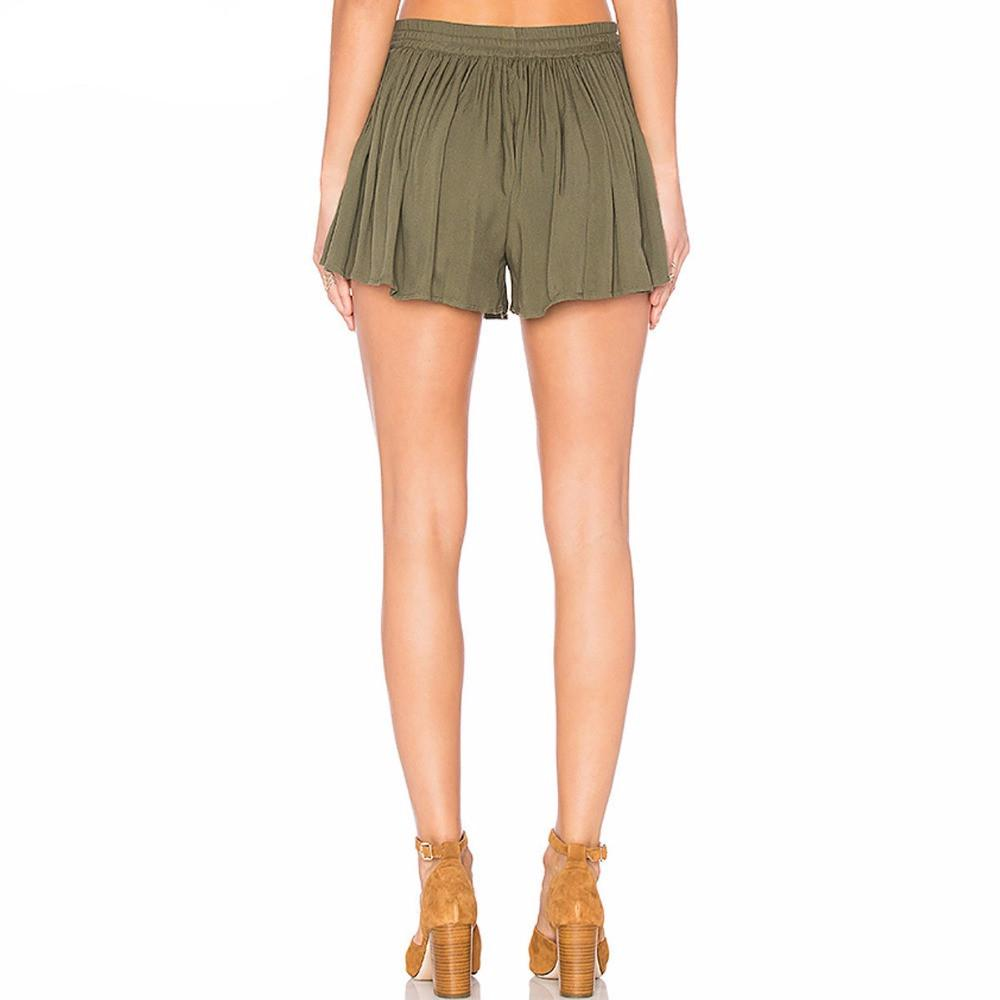 Women Summer Army Green Color Shorts Pleated Casual Elastic Waist Belt.-PANTS-SheSimplyShops