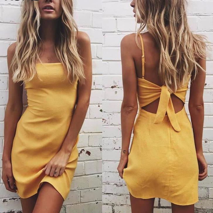 Back Tie Up Bow Slim Fit Bodycon Mini Dress-Dress-SheSimplyShops