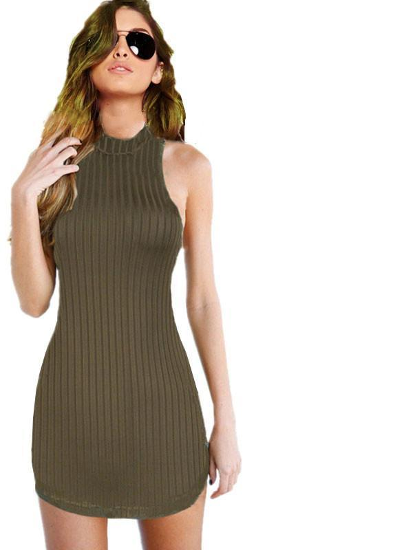 New Choker Neck Women's Olive Green Stripped Halter Bodycon Dress Mini Club Party Dress-Dress-SheSimplyShops