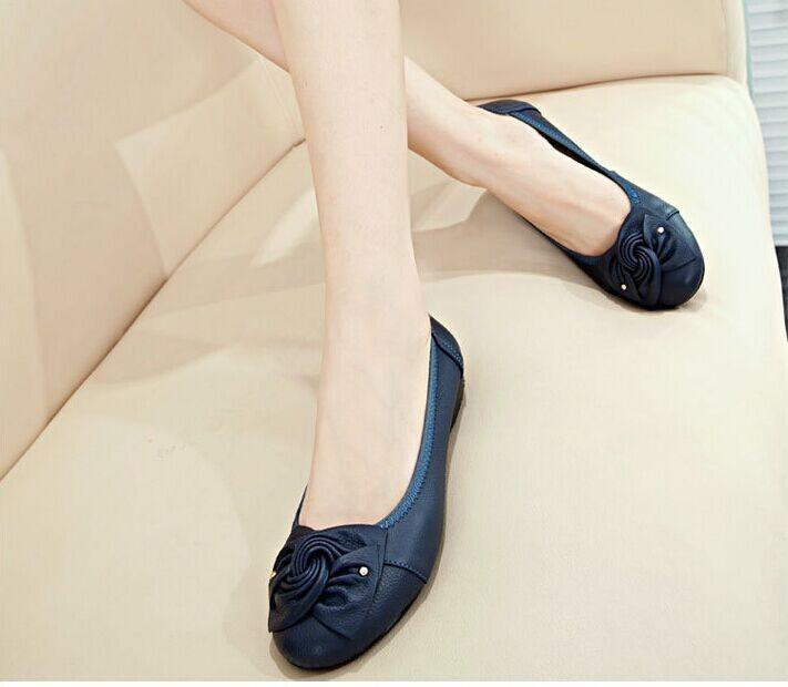 Plus size(34-43) Women Genuine Leather Flat Shoes Woman Work Shoes Newest Fashion Female casual single shoes women Flats Soft-SLIPS-SheSimplyShops