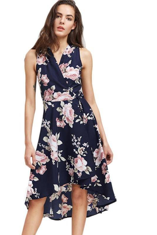 Elegant Summer Dress Women Navy V Neck Floral Print Dip Hem Midi Dresses Fashion Empire Slim High Low Tank Dress-Dress-SheSimplyShops
