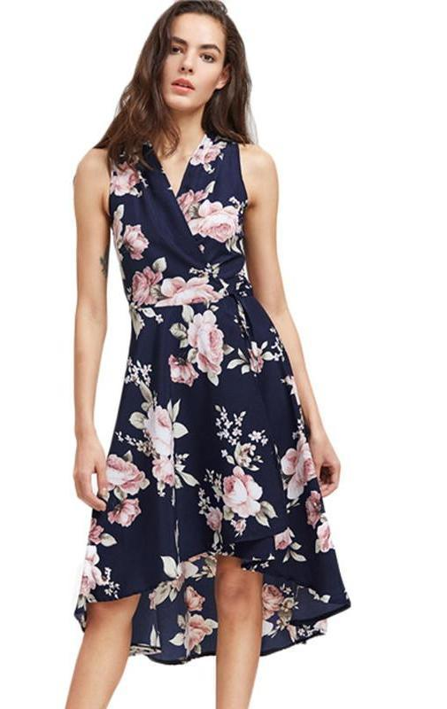 Elegant Dress Women Navy V Neck Floral Print Dip Hem Midi Dresses Fashion Empire Slim High Low Tank Dress-Dress-SheSimplyShops