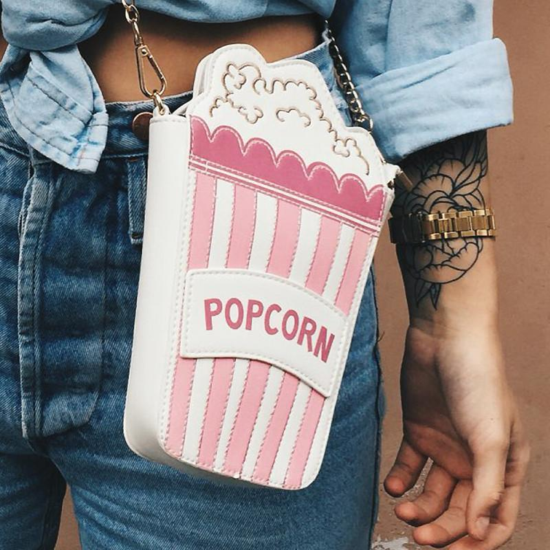 Embroidered letters popcorn shape chain shoulder bag-BAGS-SheSimplyShops