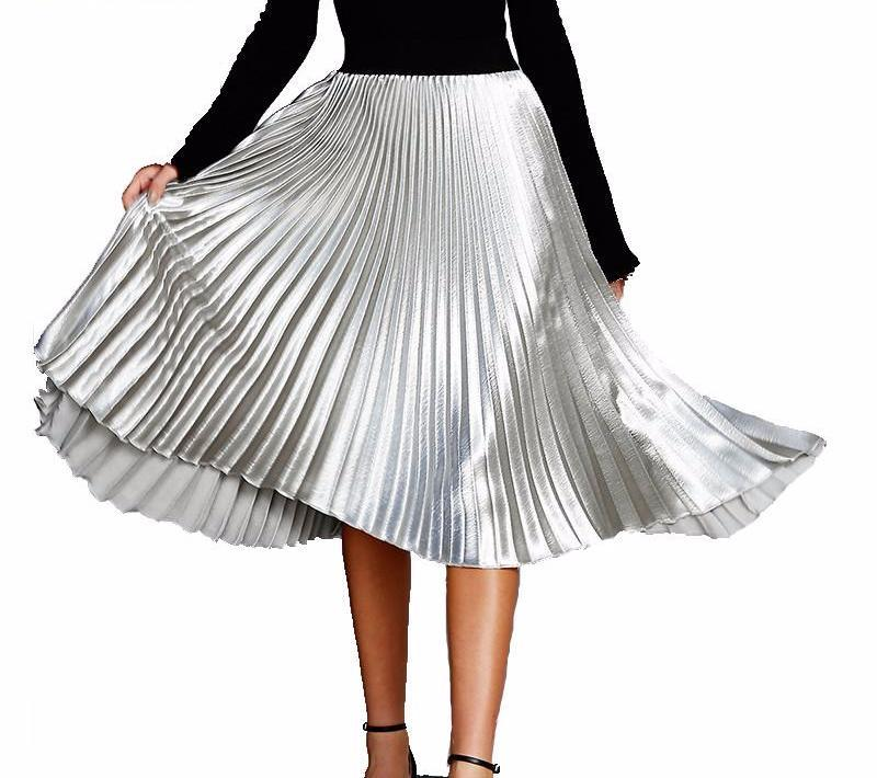 Vintage Elastic High Waist Metallic Pleated Skirt-Dress-SheSimplyShops