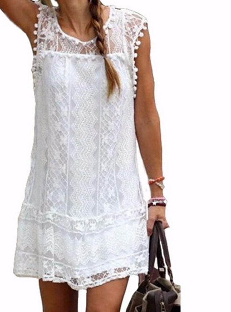 Summer Dress Sexy Women Casual Sleeveless Beach Dress Tassel White Mini Lace Party Dresses-Dress-SheSimplyShops