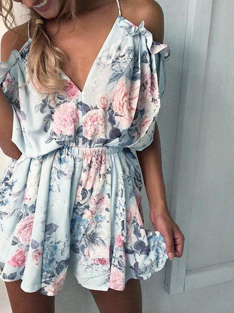 Summer Floral Print Ruffles Bodysuit Women Play suit Sexy Off Shoulder Jumpsuits Rompers Beach Short Overalls-ROMPERS & JUMPSUITS-SheSimplyShops