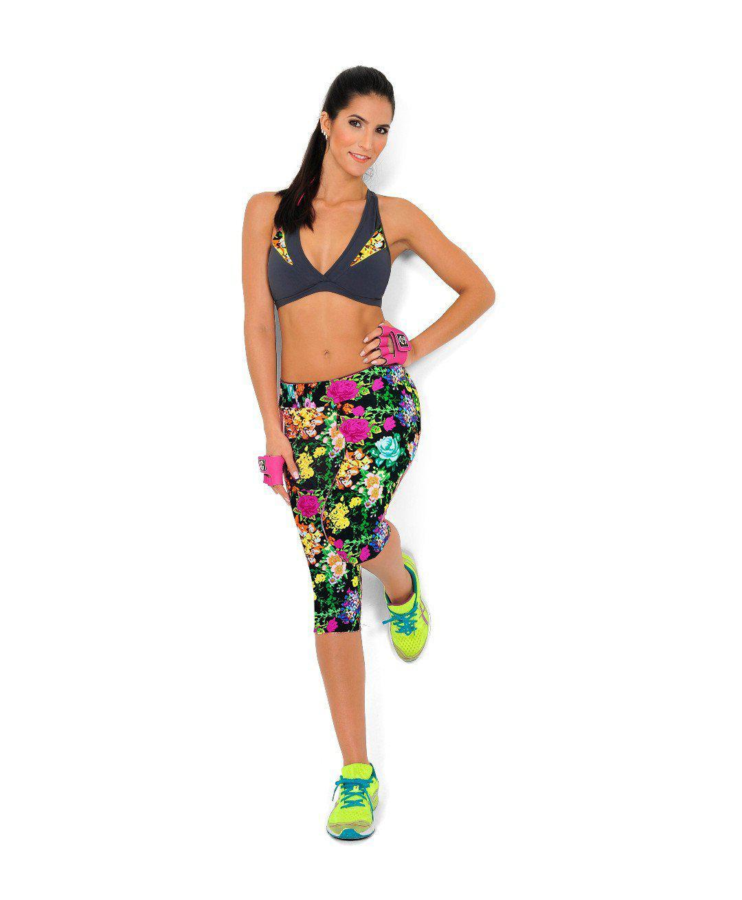 Capri Sports Leggings High Waist Floral Print Pants-ACTIVEWEAR-SheSimplyShops