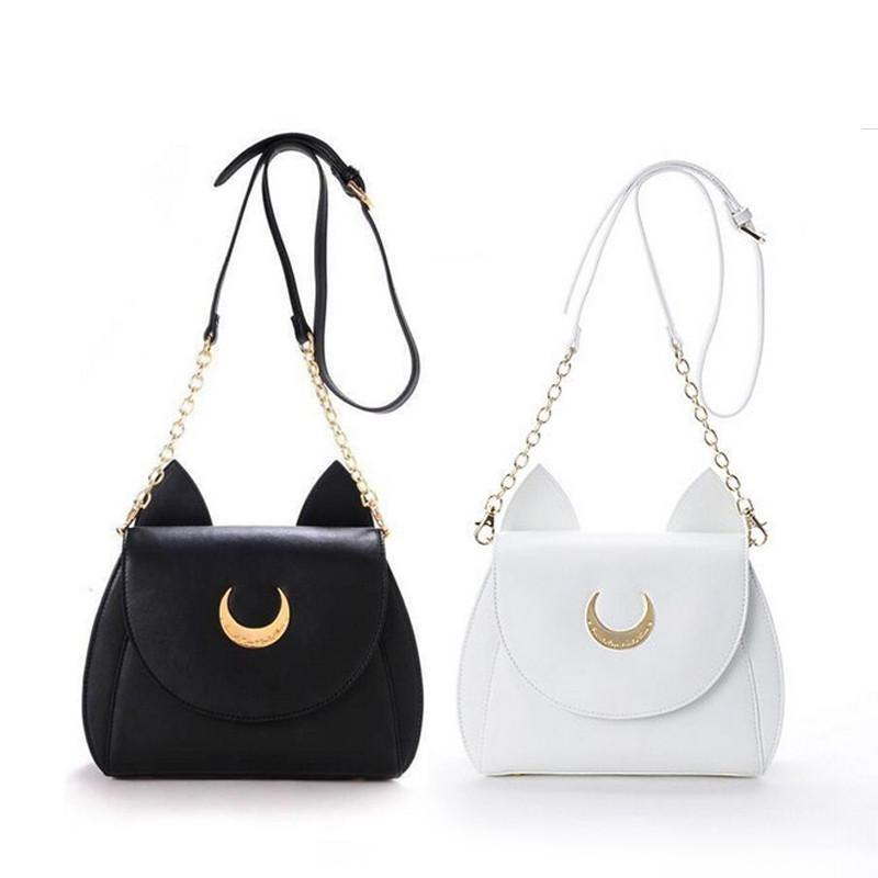White/Black Sailor Moon Luna/Artemis Shoulder Bag Ladies Luna Cat Leather Handbag Women Messenger Crossbody Chain Small Bag-BAGS-SheSimplyShops