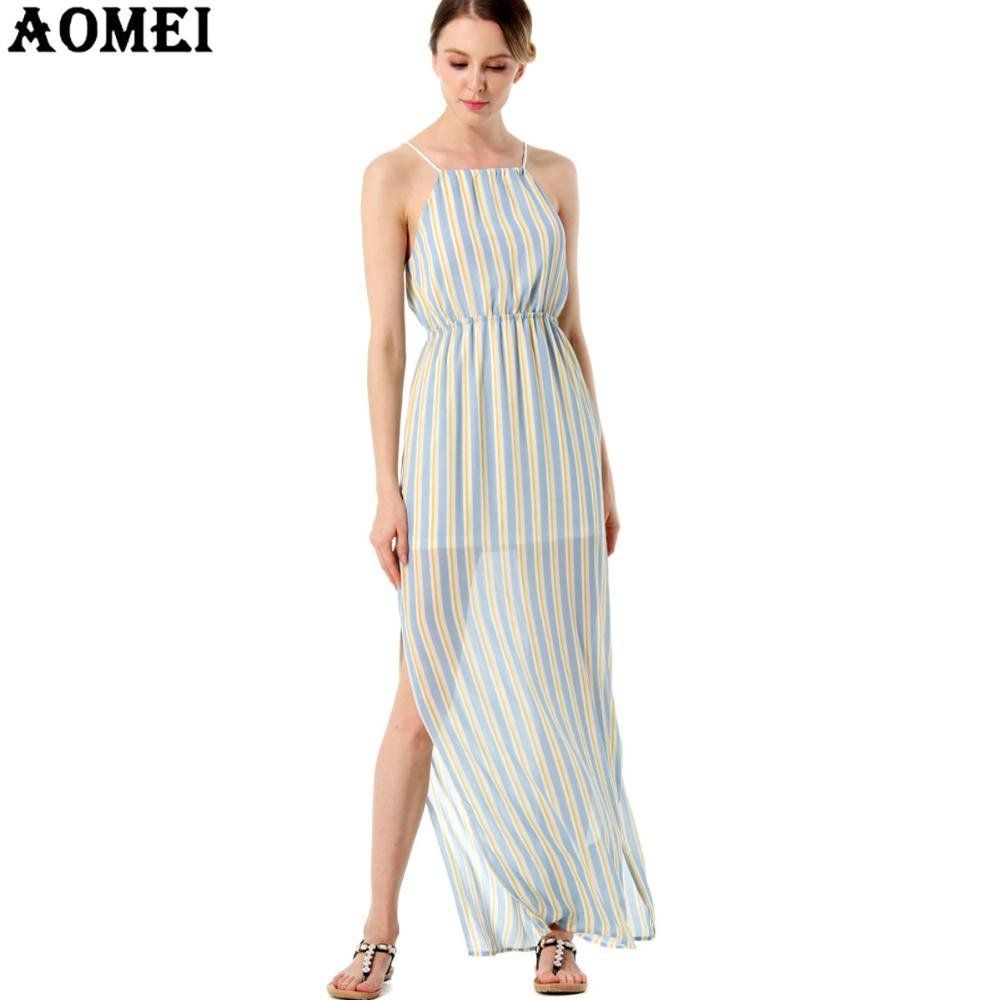 Maxi Long Women Summer Chiffon Dresses Spaghetti Strap Pink Blue color Striped Casual Beachwear Slip Dresses Gowns Female-Dress-SheSimplyShops