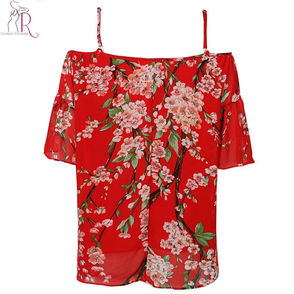 Women Blouse Off the Shoulder Spaghetti Strap Floral Sakura Chiffon Loose Casual Blouse Top Summer Style-Blouse-SheSimplyShops