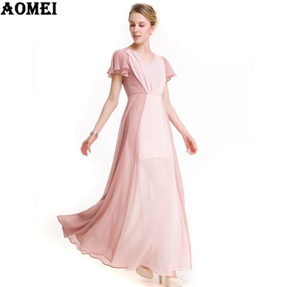 Khaki Pink Mixed Color Chiffon Long Dress Summer Beach Casual Women Elegant Wear Clothing-Dress-SheSimplyShops