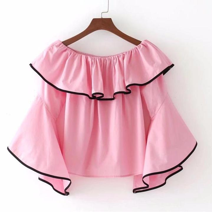 Women Sexy Off Shoulder Blouses Ruffles Sleeve Pink White Black Solid Shirts Loose Shirt-Blouse-SheSimplyShops