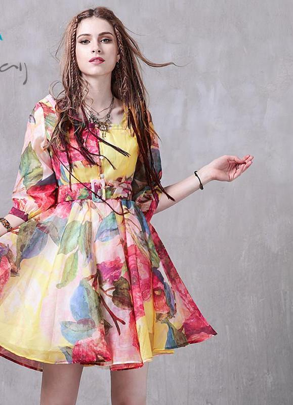 Summer Dress New Organza Half Sleeve Square Collar Belted Floral Print Swing Hem Women Dress-Dress-SheSimplyShops