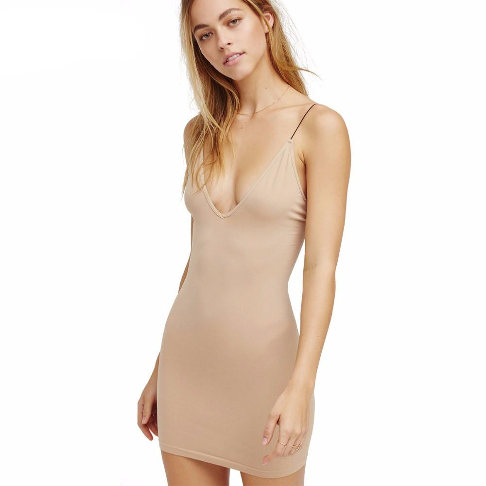 Seamless Plunging Neckline Mini Dress-Dress-SheSimplyShops