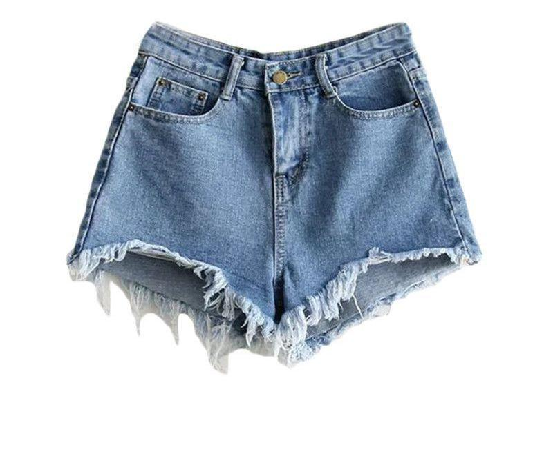 Blue Denim Shorts Women Sexy Raw Hem Casual Brief Zip Up Summer Shorts Fashion Mid Waist Pockets Button Shorts-PANTS-SheSimplyShops