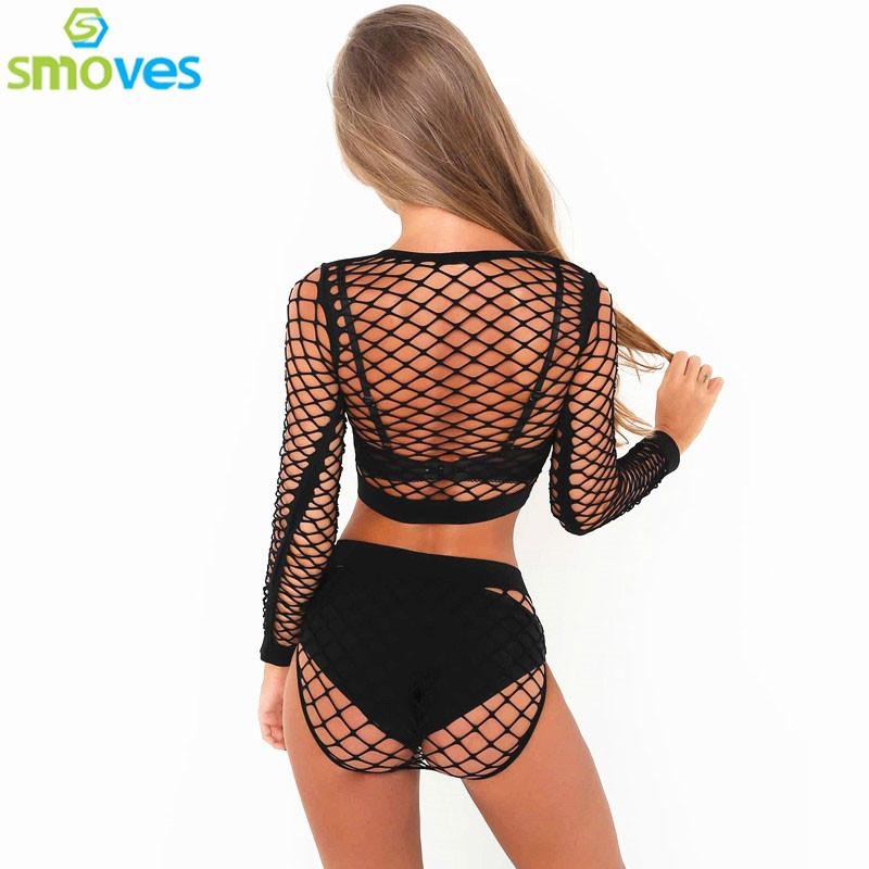 Sexy Crochet Fishnet Bodysuit 2pcs Seperated Playsuit Summer Beach Party Sexy Junmpsuit Women Tracksuit-ROMPERS & JUMPSUITS-SheSimplyShops