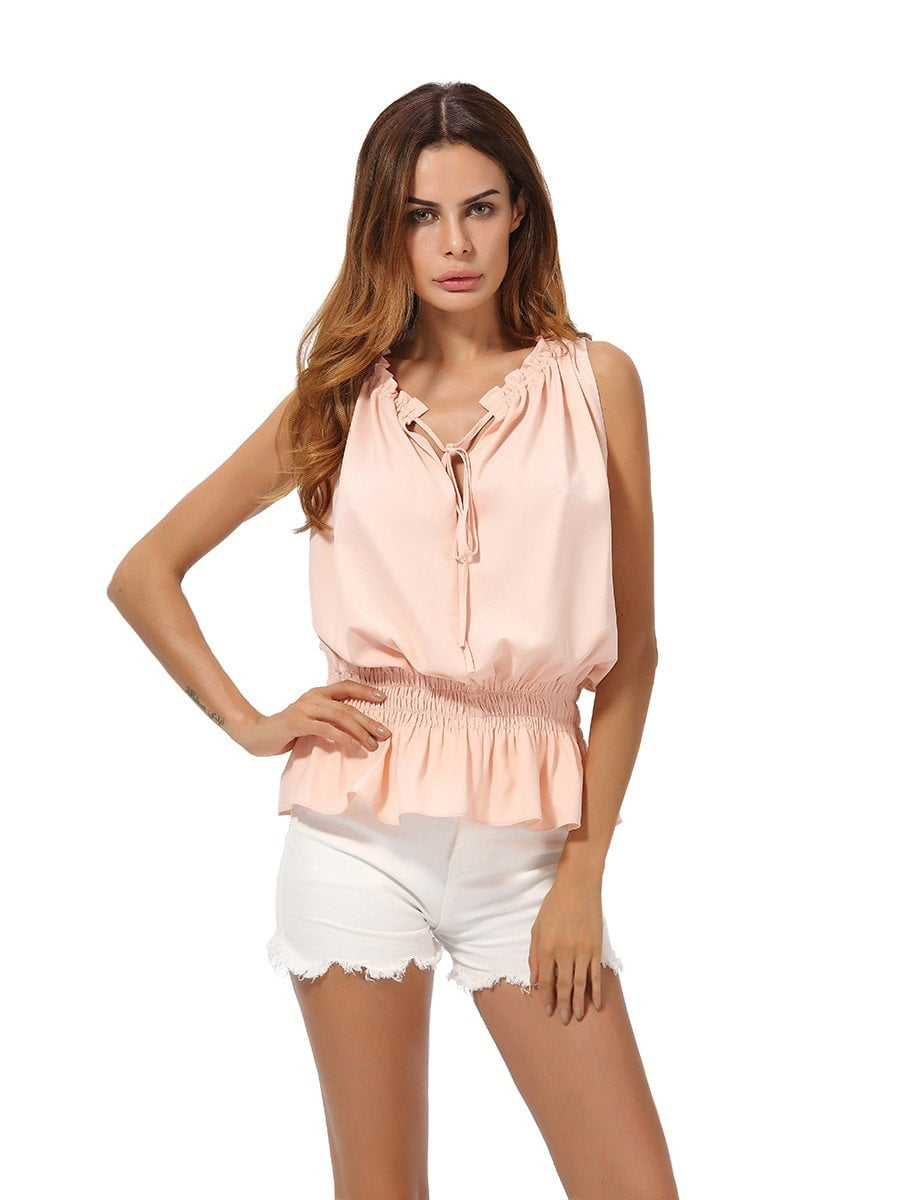 V Neck Slim Chiffon Blouse Elastic Waist Summer Fashion Casual Women Blouses-Blouse-SheSimplyShops