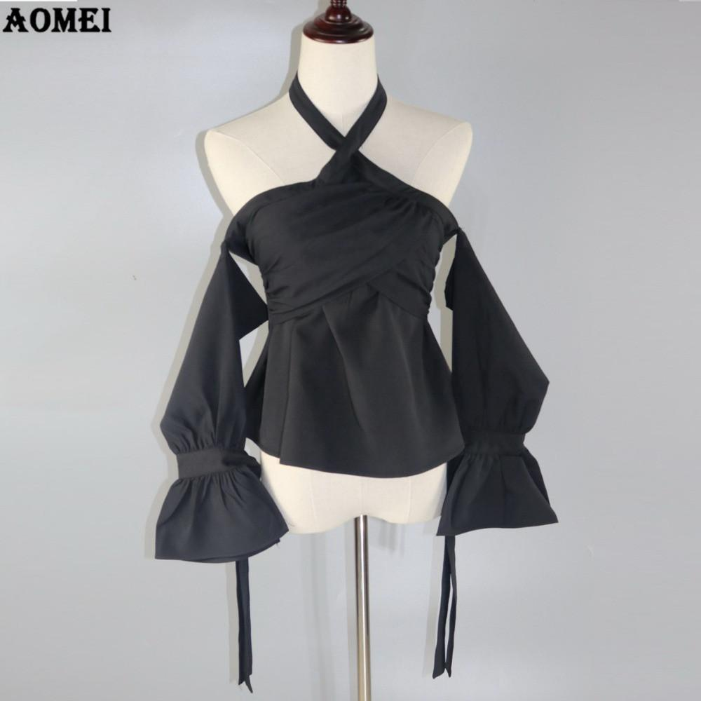 Summer Off the Shoulder Tops Blouse New Halter Black Flare Sleeve Lady Pleat Invisible Zipper Slim Fashion Shirts-Blouse-SheSimplyShops