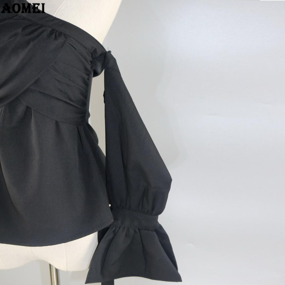 Summer Off the Shoulder Tops Blouse New Halter Black Flare Sleeve Lady Pleat Invisible Zipper Slim Fashion Shirts Blusas-Blouse-SheSimplyShops