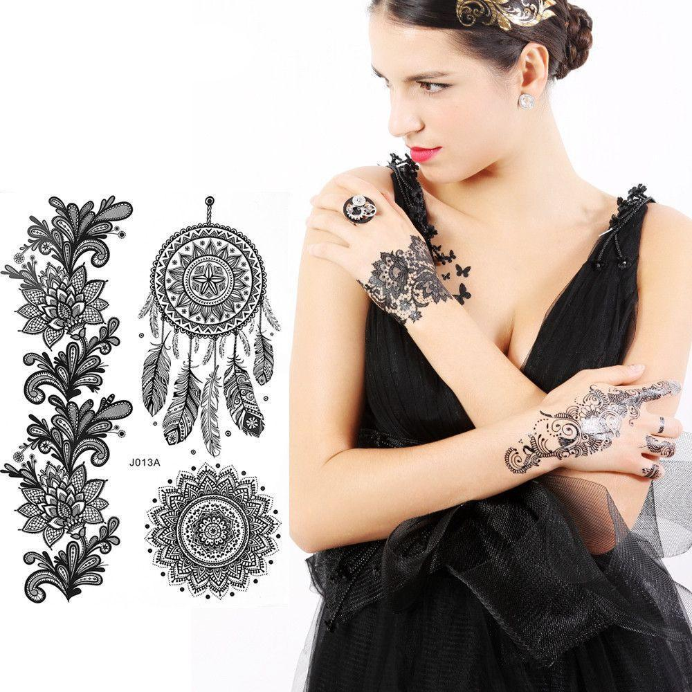 800 Styles Beauty Body Art Temporary Tattoos Black White Gold Flash Metallic Tattoo Arm Sticker Henna Women Jewelry Waterproof-JEWELRY-SheSimplyShops