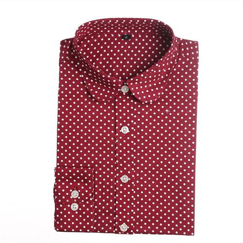 Polka Dot Long Sleeve Tops-Tops-SheSimplyShops