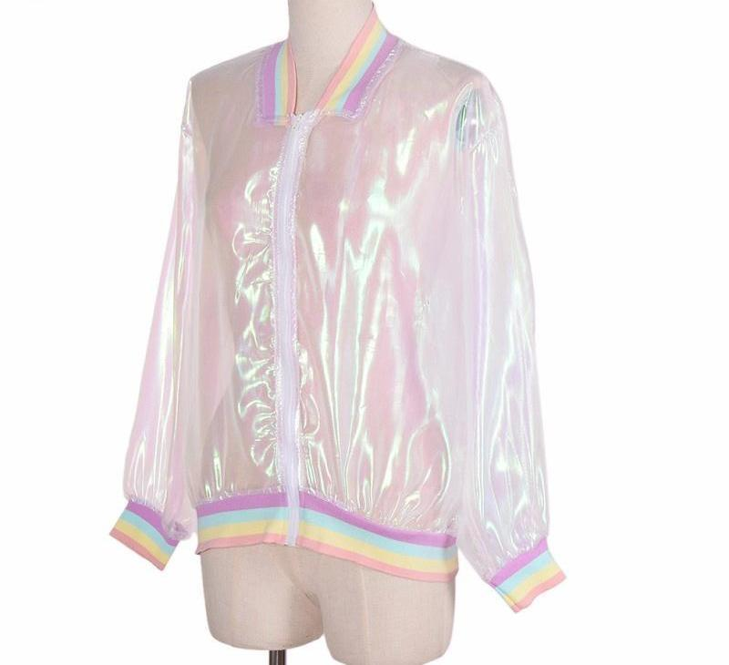 Summer Women Jacket Laser Rainbow Symphony Hologram Women Coat Iridescent Transparent Bomber Jacket Sunproof-Coats & Jackets-SheSimplyShops