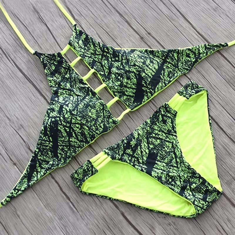 Sexy High Neck Halter Crop Bikinis Women Swimsuit Bandage Swimwear Print Bikini Set Bathing Suit Swim Wear-SWIMWEAR-SheSimplyShops